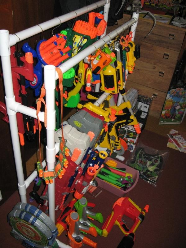 Nerf Gun Rack, Perfect For The Clubhouse Where The Nerf Guns Live!