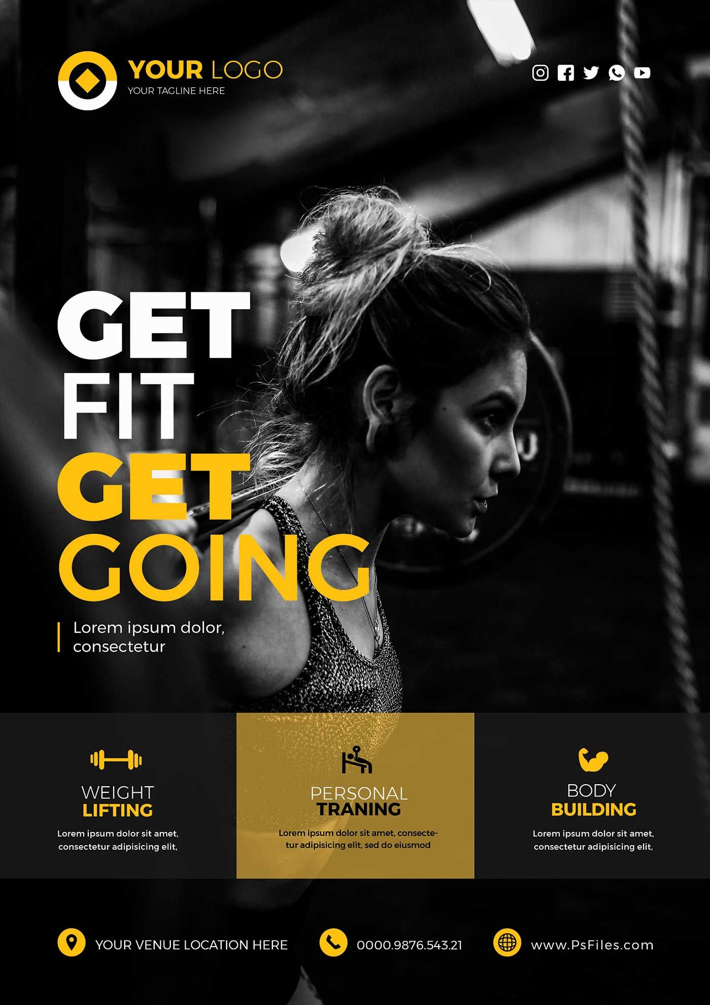 Health Fitness Club Free PSD Flyer Templates Fitness
