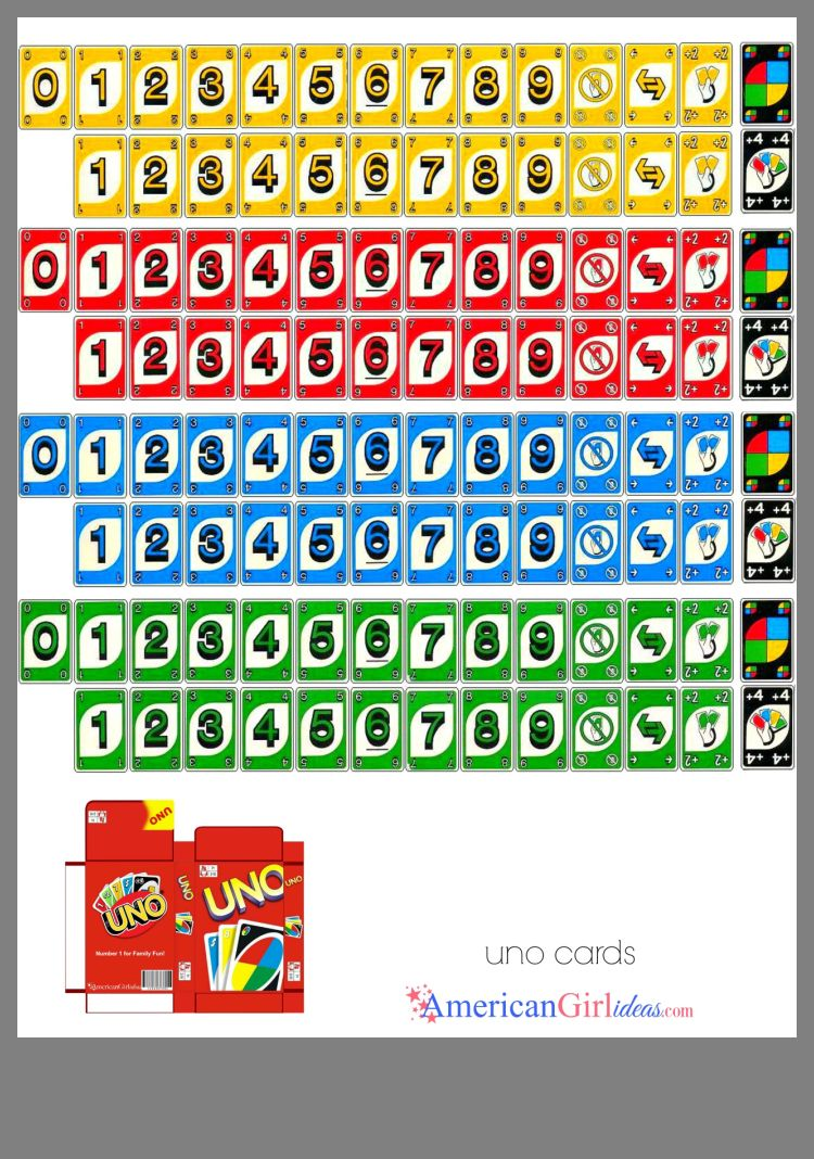 photograph about Printable Uno Cards called Pin by means of Teri Stephens upon American Female doll Doll Space