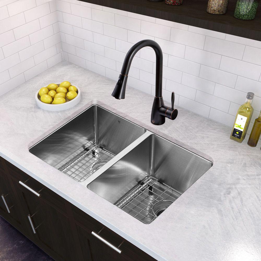 29 Inch Undermount 50 50 Double Bowl 16 Gauge Stainless Steel Kitchen Sink With Aylesbury Antiq Kitchen Faucet Black Kitchen Faucets Matte Black Kitchen Faucet