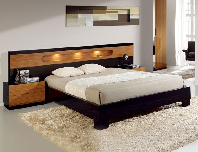 Best Lacquered Made In Spain Wood Modern Platform Bed With 400 x 300