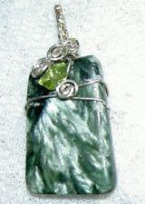 Beautiful Seraphinite Sterling Silver Pendant w/ Peridot $32.99