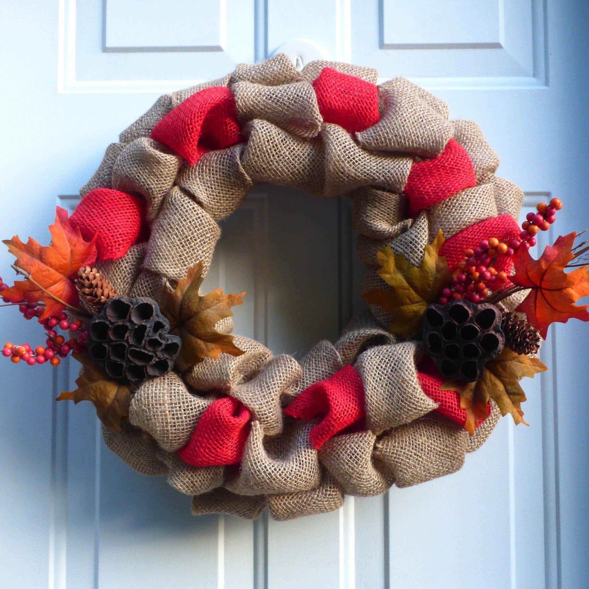 fall wreath Fall Burlap Wreath fall decor autumn burlap wreath wreath front door wreath autumn decor natural wreath autumn wreath