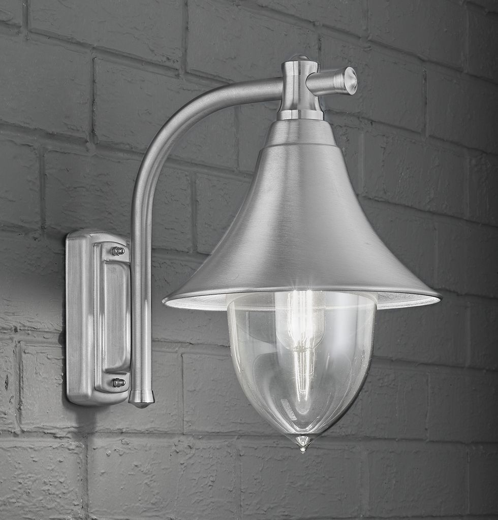 Franklite Lorenz Classic Italian Wall Light A classic Italian exterior  lantern in a brushed marine grade stainless steel EXT6589 Lorenz exterior wall light  silver grey  A classic Italian  . Marine Grade Stainless Steel Outdoor Wall Lights. Home Design Ideas