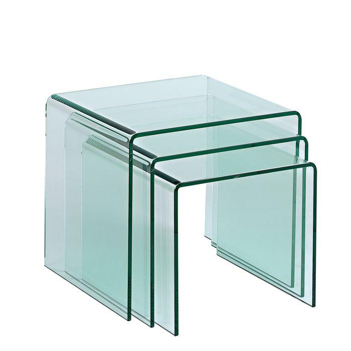 Yaheetech Set Of 2pcs Glass Nesting Tables Living Room Sofa Side