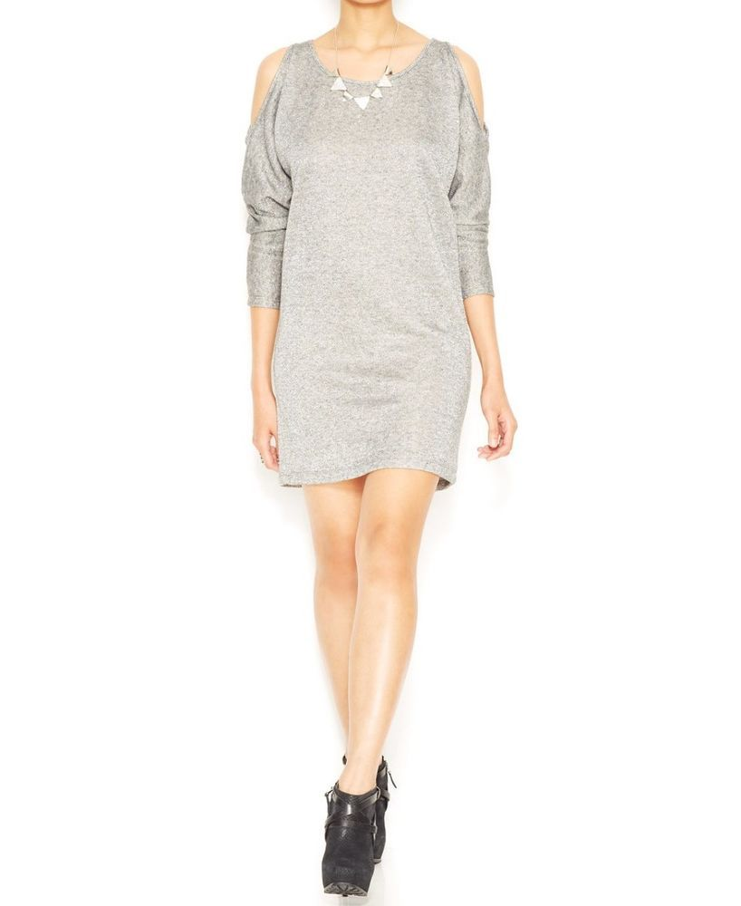 6076415bbf Bar Iii Dolman Sleeve Shoulder Cutout Sweatshirt Dress Womens Size Xs Gray   fashion  clothing