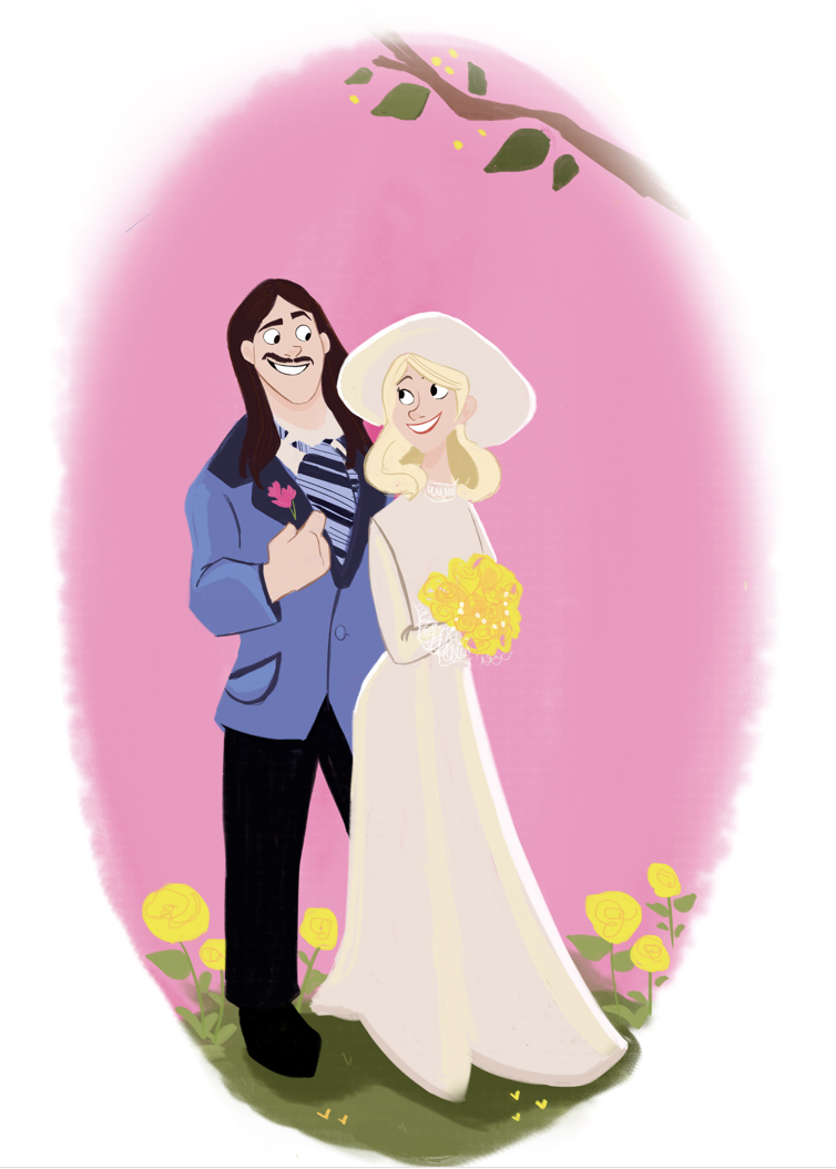 wedding couple // commissioned art for parent\'s anniversary gift ...