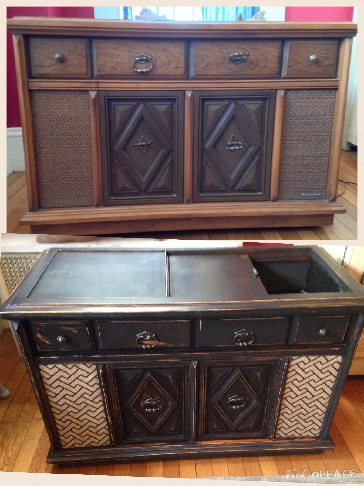 1970 S Stereo Cabinet Repurposed Into 2015 Bar Cart Sold