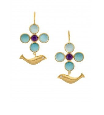 gold plated Dove earrings with semiprecious stones. contact to buy.