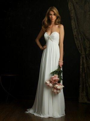 A Line Strapless Sweetheart Sweep/ Brush Train Crepe Chiffon Wedding Dress - Discount Wedding Dresses - Wedding Dresses