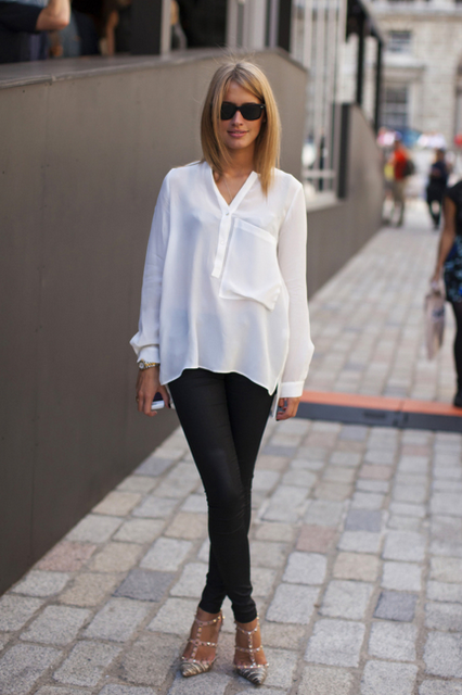 When setting up your closet, there's no solid base without simple white  blouse. The one you will be wearing under your formal blazer, on sho.