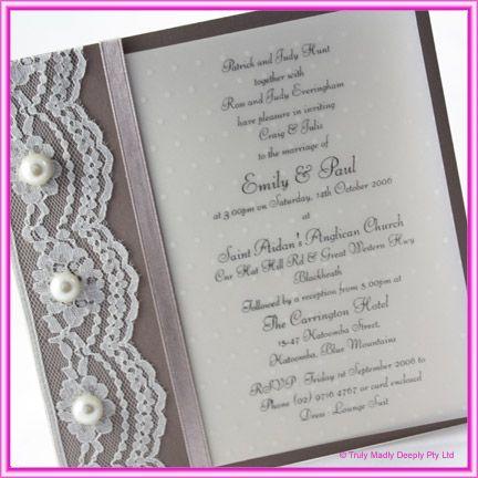 diy wedding invitation lace pearls - Do It Yourself Wedding Invitations