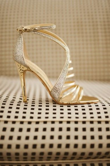 An Elegant Chic Gold And White Wedding Every Last Detail Gold Wedding Shoes Kate Spade Wedding Shoes Gold Glitter Shoes
