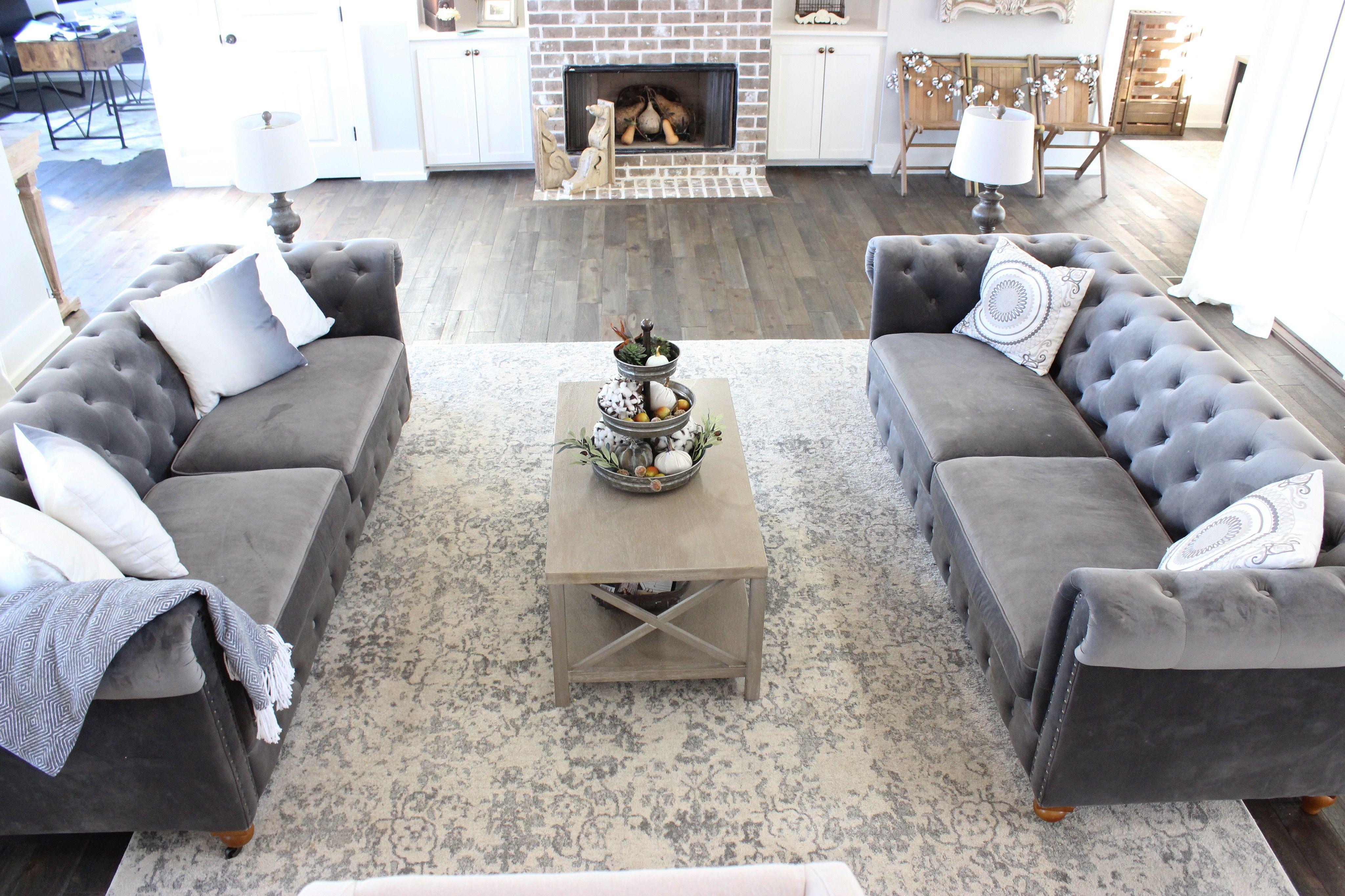 Farmhouse Living Room, Living Room | Tufted Sofa Living Room, Tufted Couch Living Room, Velvet Couch Living Room
