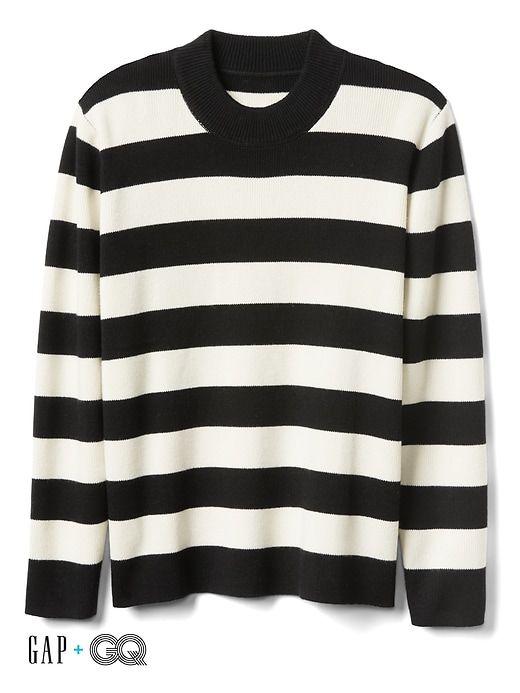Gap Mens Gap + Gq Ami Wool-Cashmere Stripe Sweater Black White Stripe Size 9fb50d39e740