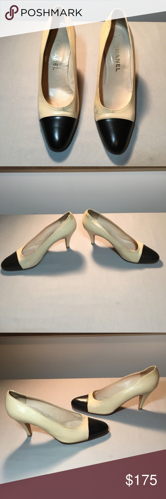 beige and black cap toe heels
