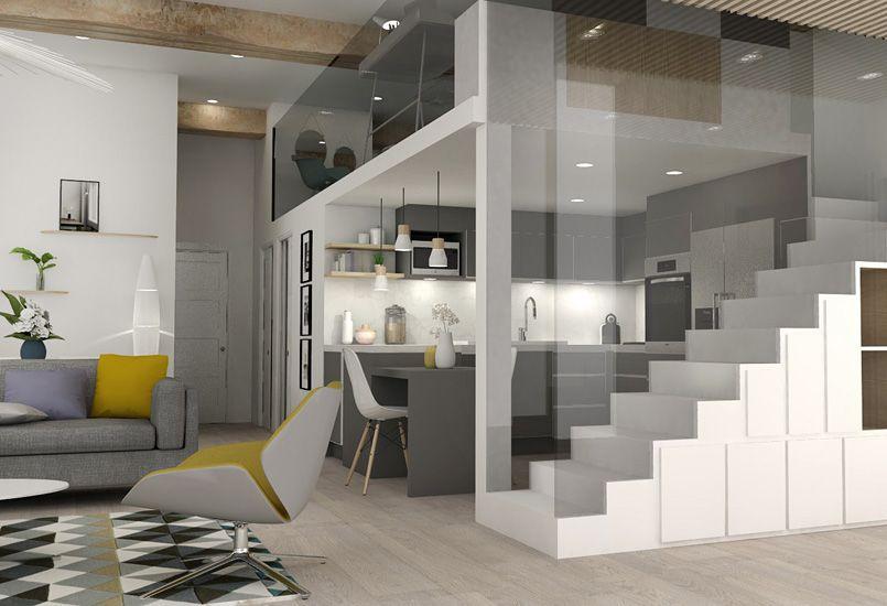 pied terre chic et moderne r novation appartement. Black Bedroom Furniture Sets. Home Design Ideas