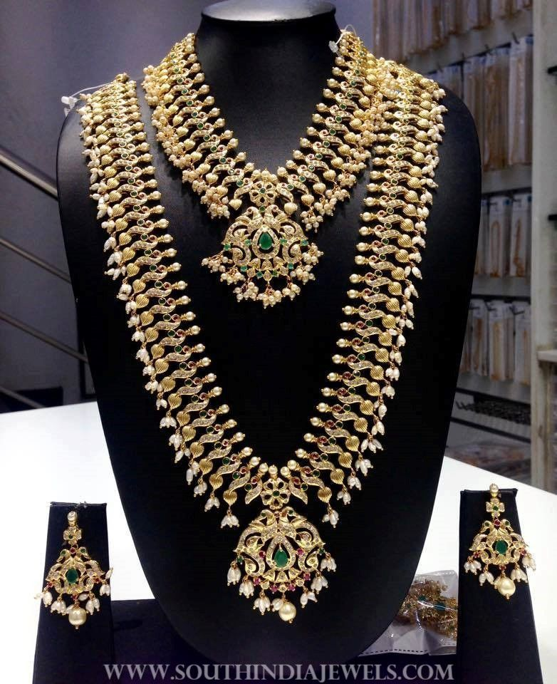 d5c84068aa0b1 1 Gram Gold Bridal CZ Stone Jewellery Set   Bridal Jewellery ...