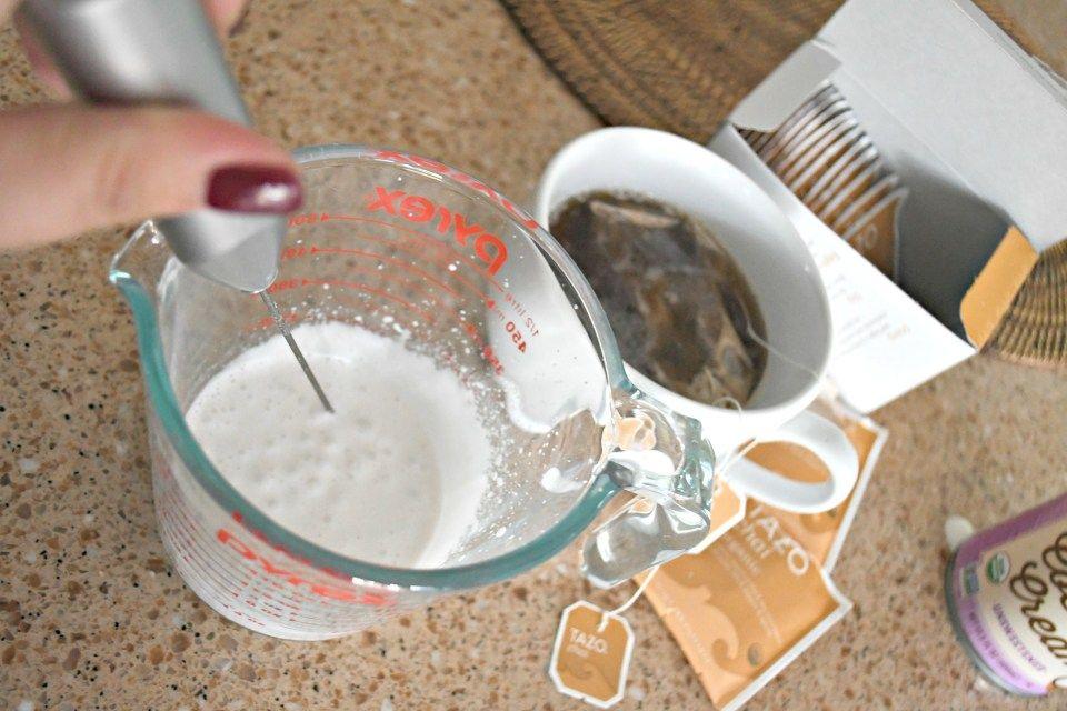 Homemade starbucks keto chai tea latte using a milk