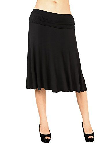 d429227cb05 DJT Women Plain Soft Stretch Basic Jersey Flared Swing Skater Midi Skirt  Black Medium. UK skirts. It s an Amazon affiliate link.