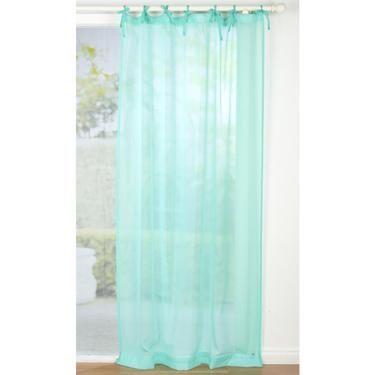 Koo Crinkle Tie Top Sheer Curtain Turquoise 120 X 213 Cm