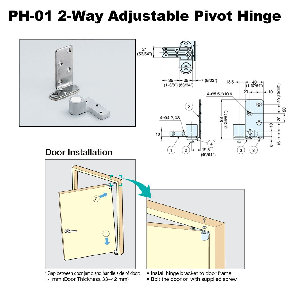 Sugatsune 2 Way Adjustable Pivot Hinge Ph 01 Garage Doors Door Jamb Garage House Plans