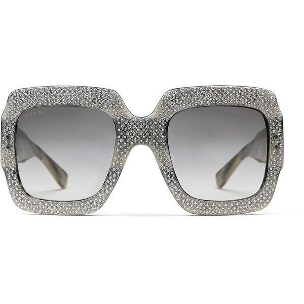 af1d8c3056 Gucci Oversize Square-Frame Rhinestone Sunglasses featuring polyvore women s  fashion accessories eyewear sunglasses grey women lens glasses grey  sunglasses ...