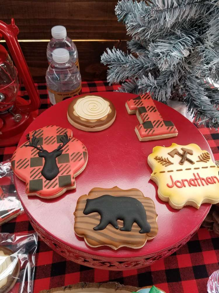 Loving these Lumberjack cookies at this little boy's 1st