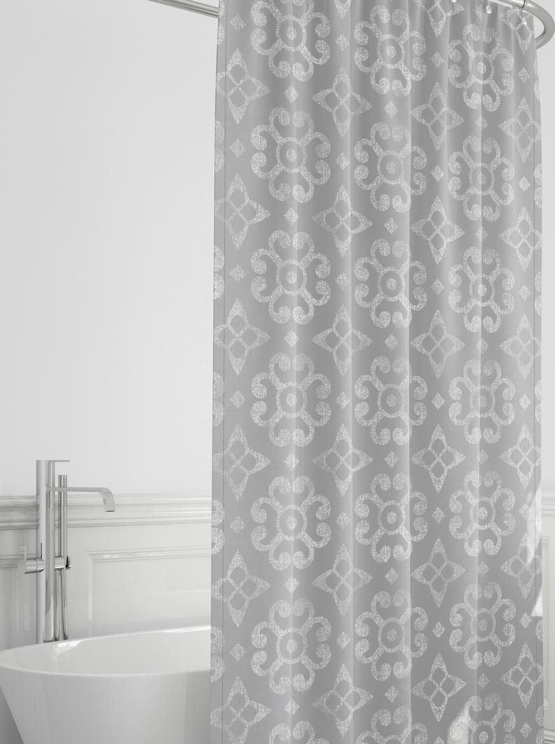 Farmhouse Shower Curtain Gray And White Bathroom Decor Etsy