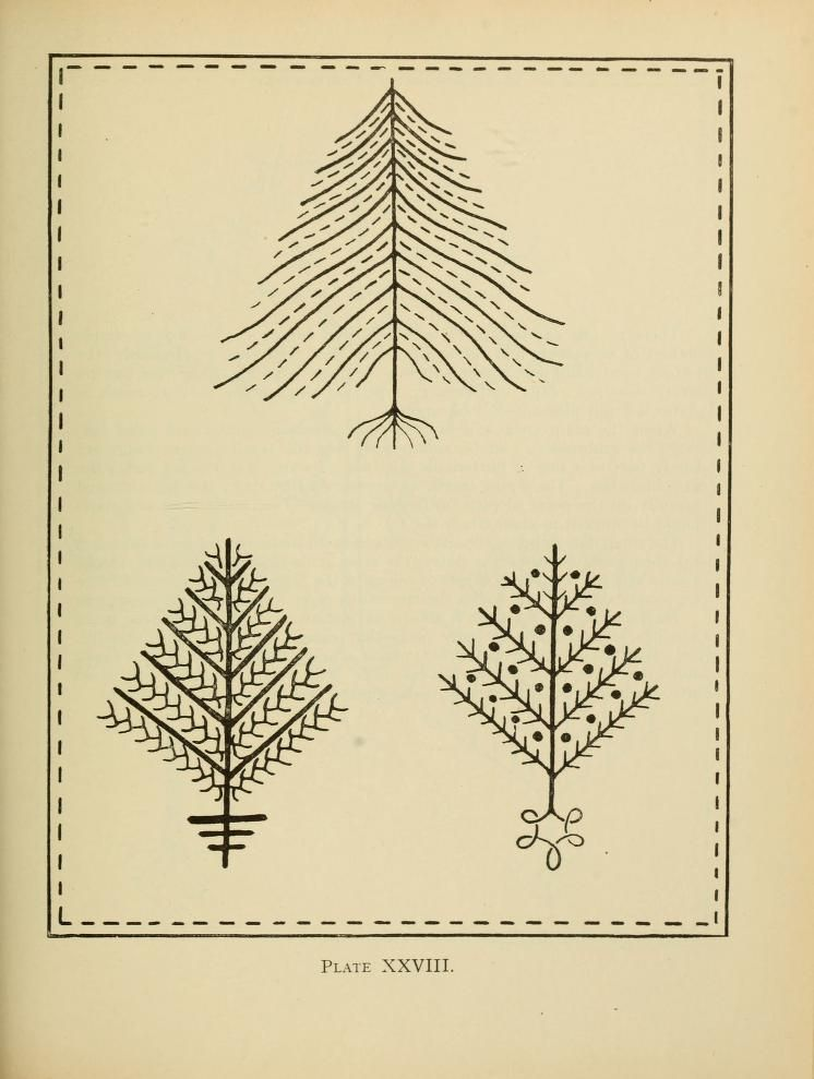 An embroidery pattern book : trees : I think the top one would make ...