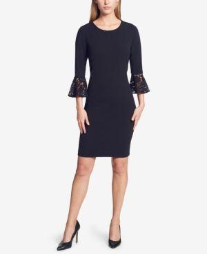 10, Black Vince Camuto Women/'s Bell-Lace-Sleeve Sheath Dress