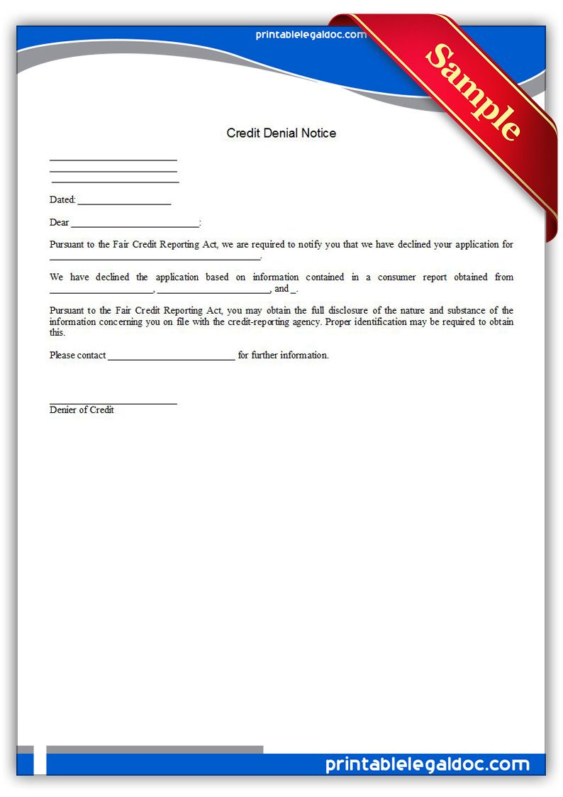 Printable Credit Denial Notice Template  Printable Legal Forms