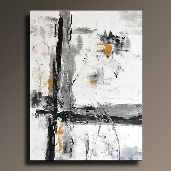 Large abstract painting black white gray gold painting original canvas art contemporary modern art 48x36 wall decor unstretched 39w