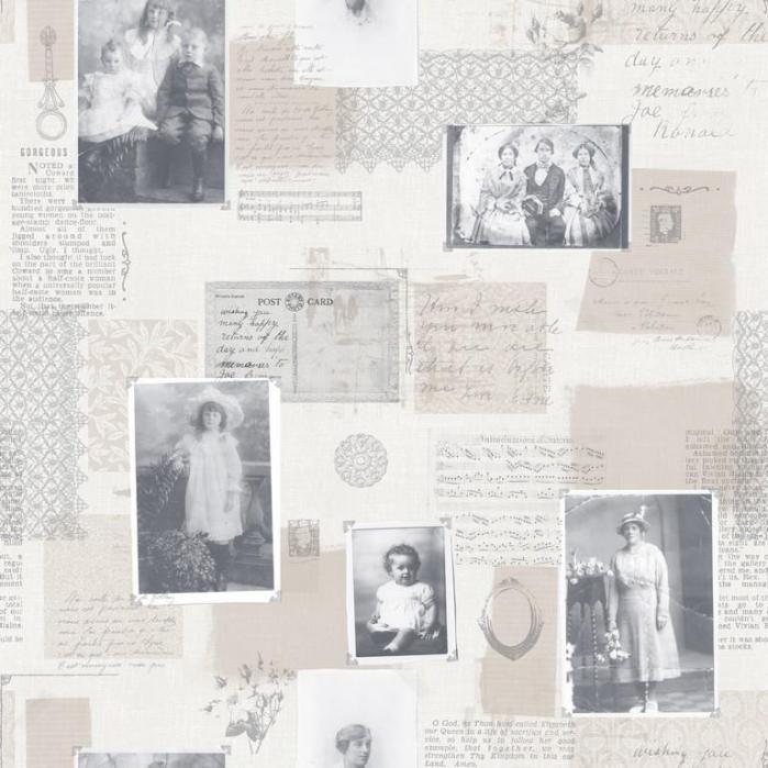 56130 behang memories Noordwand brocante kantjes fotolijstjes