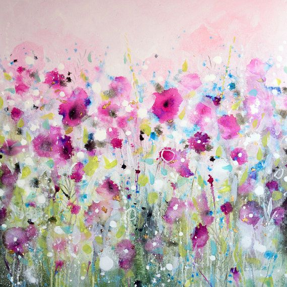 Pink Floral Canvas Print Giclee Print From Painting Poppies Etsy In 2021 Poppy Wall Art Floral Art Canvas Abstract Floral Art