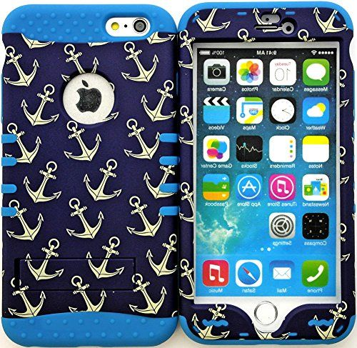 "myLife Stylish Design and Layered Protection Case for iPhone 6 Plus (5.5"" Inch) by Apple {Caribbean Blue + Navy Blue ""Classic Falling Anchor Finish"" Three Piece SECURE-Fit Rubberized Gel} myLife Brand Products http://www.amazon.com/dp/B00PBHJ2E2/ref=cm_sw_r_pi_dp_8g6yub1N6E94S"