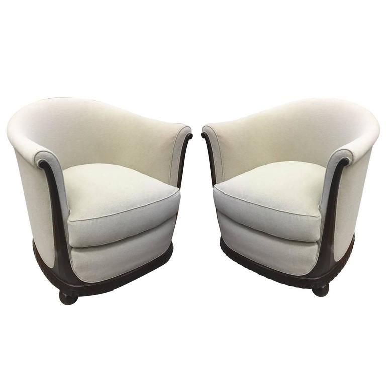 Jules Leleu Stamped Rarest Pair Of Early Art Deco Chairs Newly Covered In  Mohair