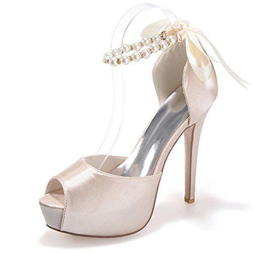 Women's Peep Toe Platform Heels Pumps Ankle Straps Buckle Satin Wedding Evening Party Prom Sandals