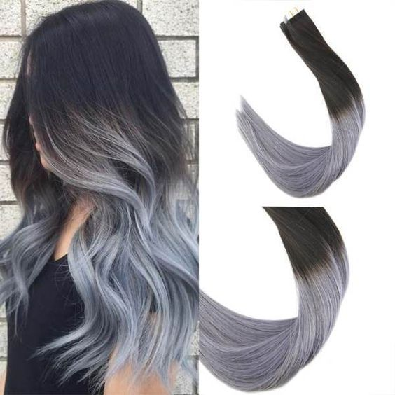 Tape In Black To Blue Grey Human Hair Extensions Ombre Pu Hair Top