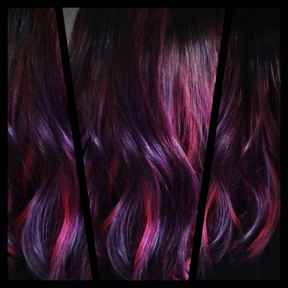 Beautiful Red Violet Colour Technique By Talented Pasquale Stylist And Colorist Sasha Lee De Vries For An Appointment Pho Hair Styles Brunette Highlights Hair