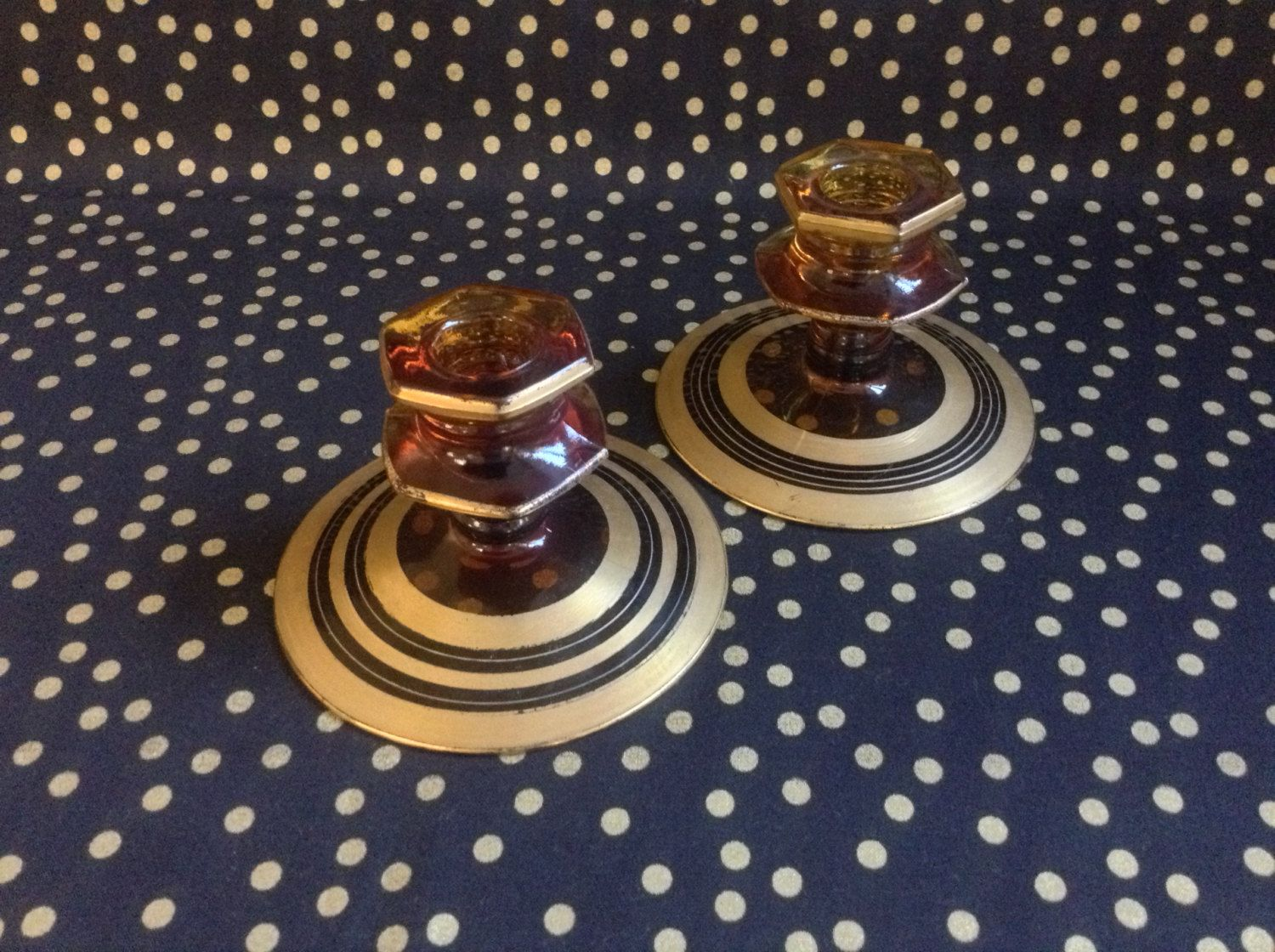 Tread Candle~Lightly~Gilded~Amber Glass~Candle Stick Holders~Set of 2~Taper by RubyJeanRummage on Etsy