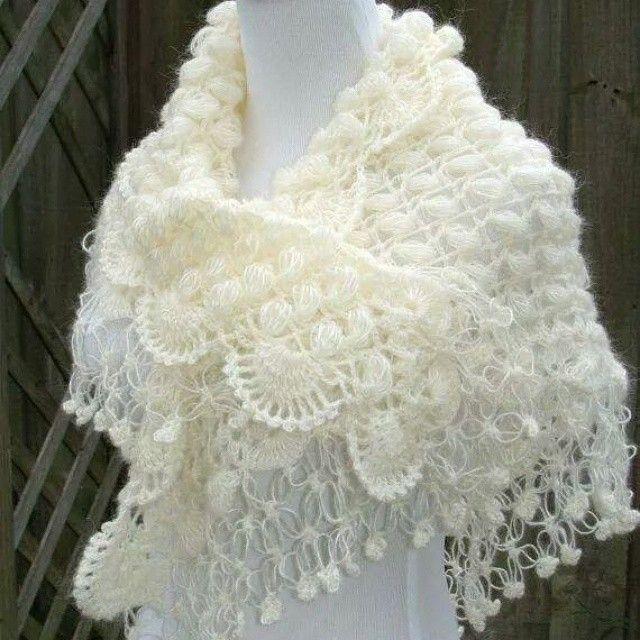 wedding shawls for winter | Ganchillo | Pinterest | Chal, Tejido y ...