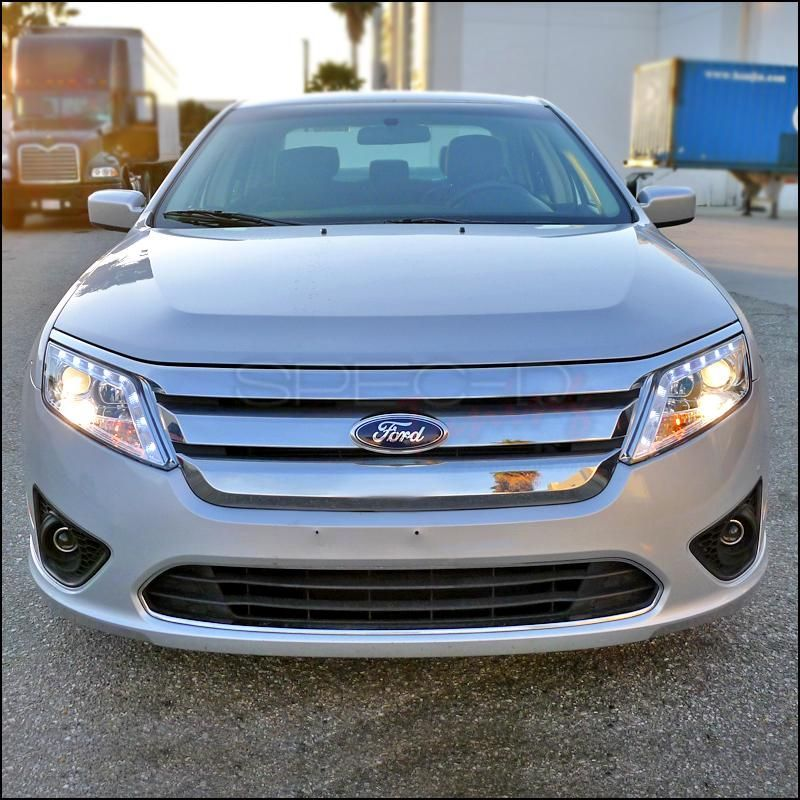 Spec D Projector Headlights Ford Fusion Led Halo 2010 2012 Black O Redline360 Ford Fusion Sports Cars Cheap Sports Cars