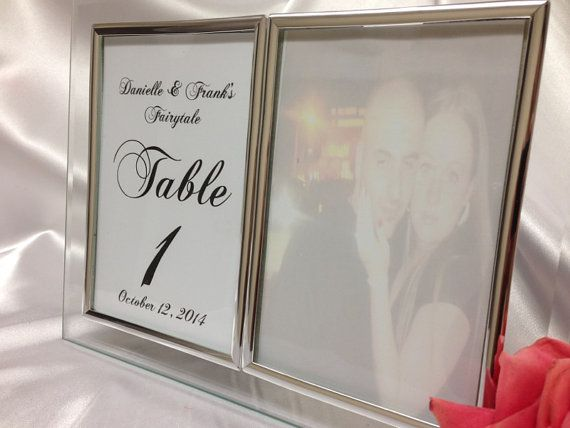 Silver Wedding Frame- Double Sided Personalized Wedding Table Number ...