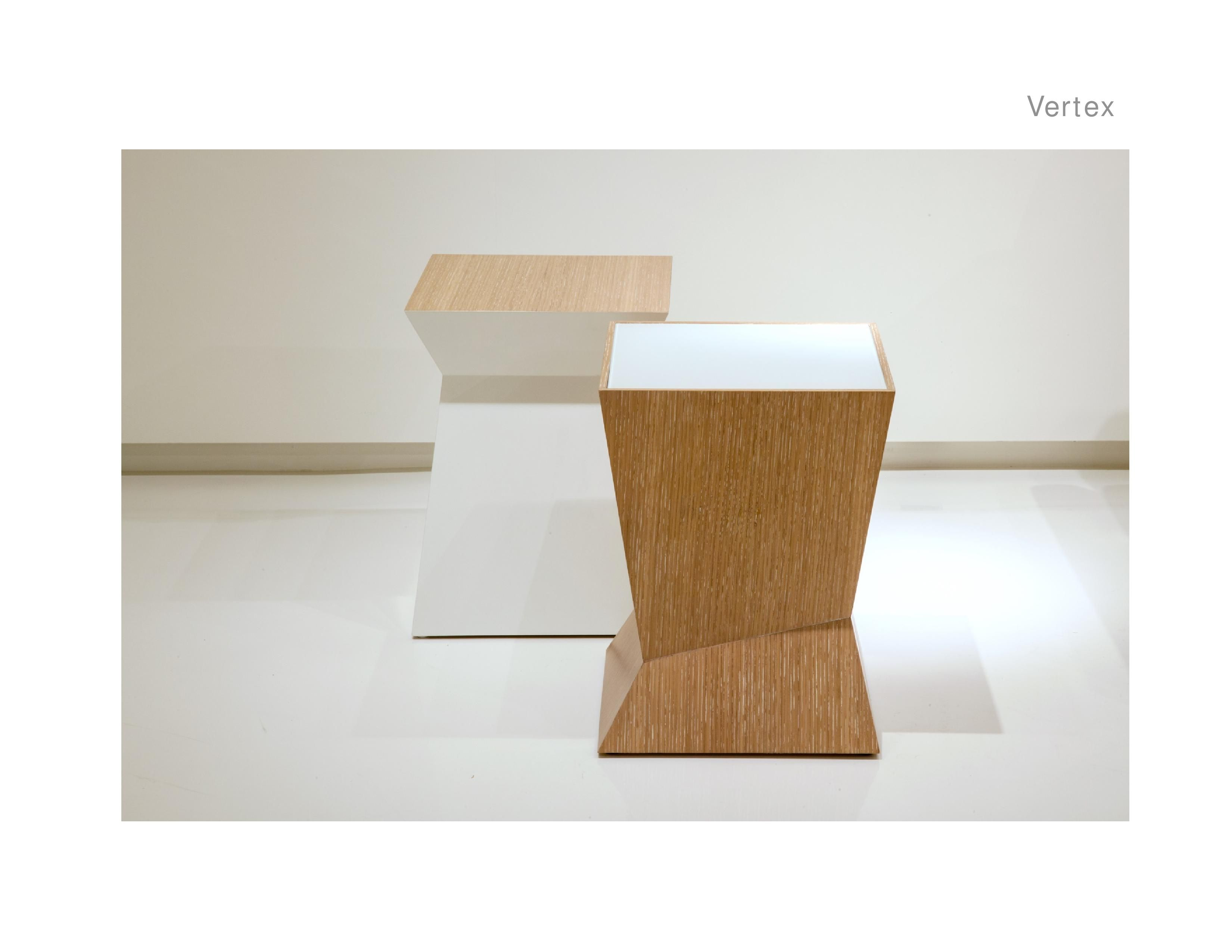 VT ST100 (Wood Inset Top)                VT ST105P (Lacquer Inset Top) Vertex Side Table