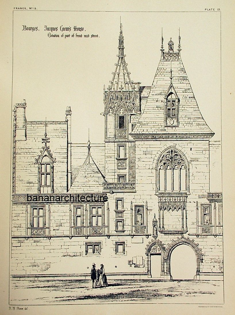 1872 Large Antique Plate of Architectural Details