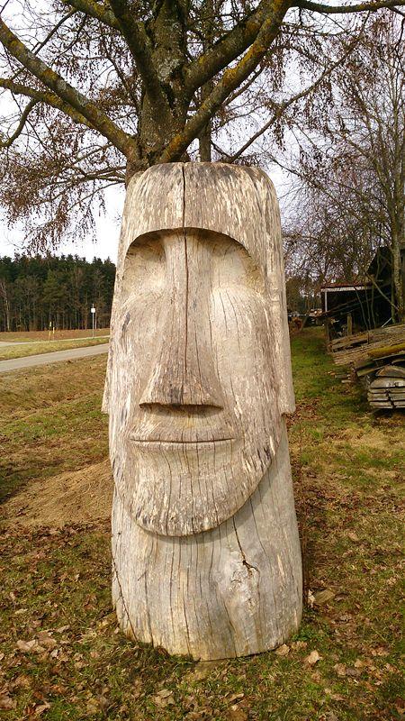 Moai Skulptur Aus Pappel Holz | Holzbasteleien | Pinterest Modernes Gartenhaus Aus Pappelholz