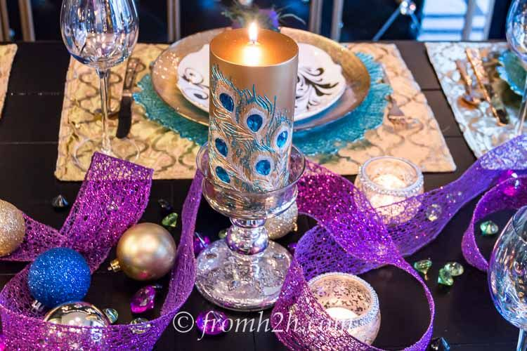 Peacocks (and turquoise) are one of the trends for this year...see how to incorporate them into your table setting with our peacock tablescape.