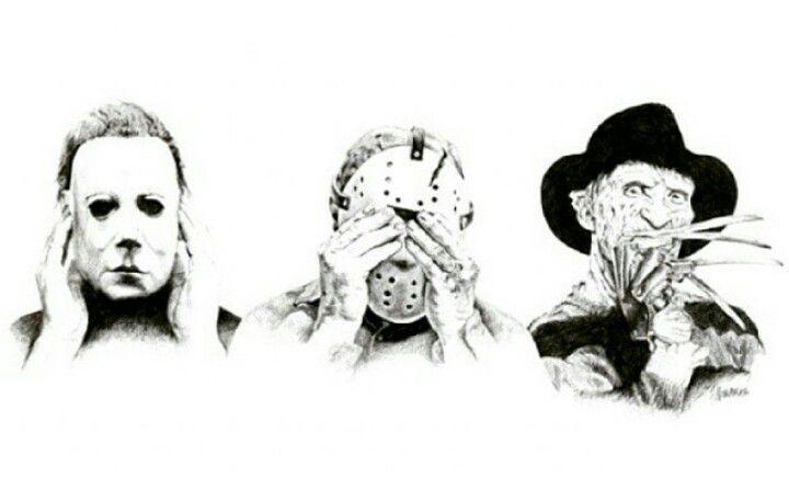 See No Evil Hear No Evil Speak No Evil Hear No Myers See No Jason Speak No Freddy Horror Movie Tattoos Horror Movie Art Movie Tattoos