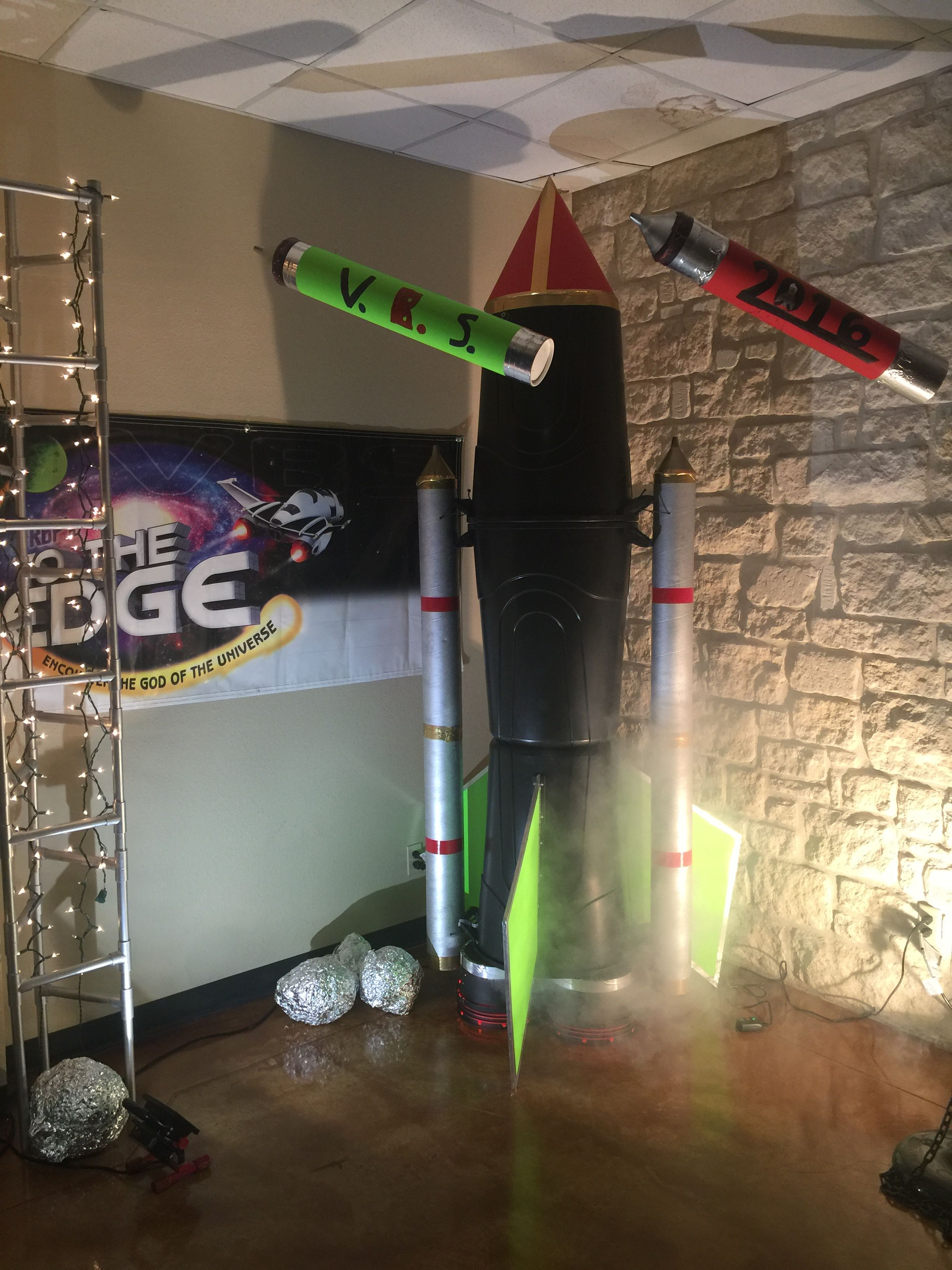 VBS Rocket made from 3 large trash cans cardboard tubes for